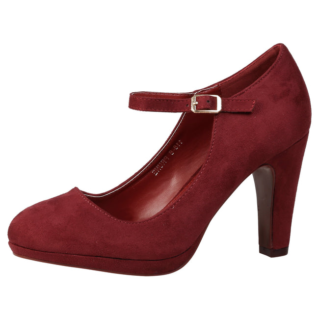 Emmeline Platform Mary Janes in Wine Faux Suede
