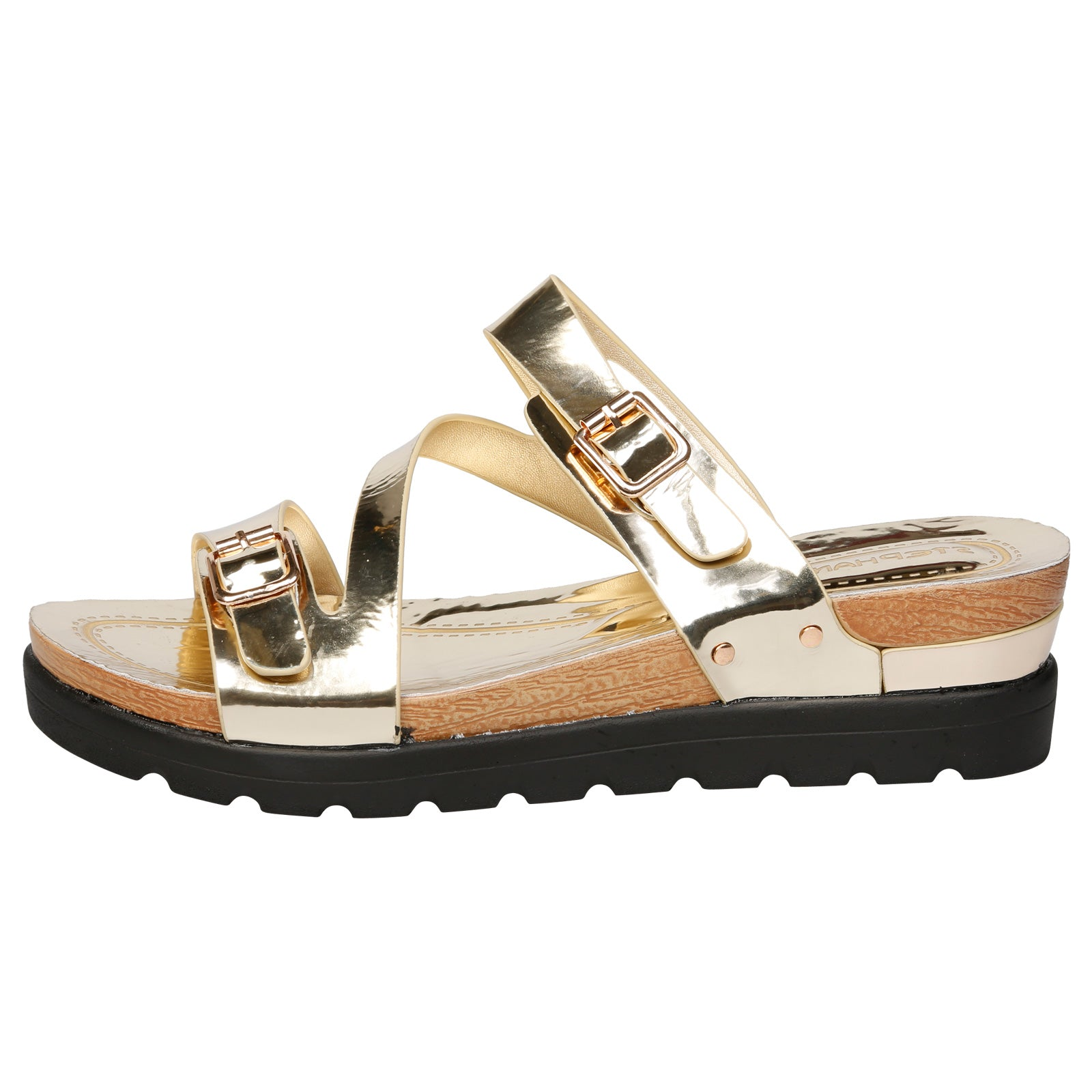 Enid Large Size Buckled Flatform Sandals in Gold Patent - Feet First Fashion
