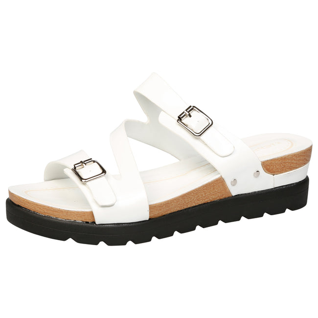 Enid Large Size Buckled Flatform Sandals in White Patent - Feet First Fashion