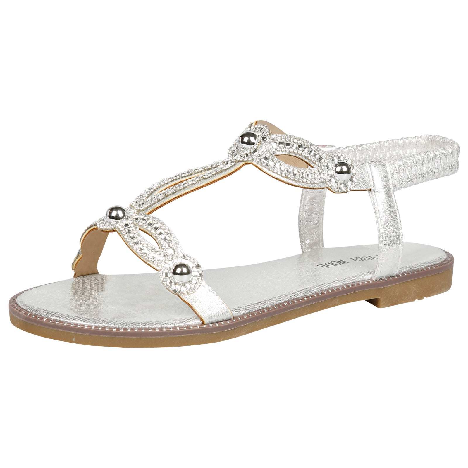 Elle Diamante T-Bar Sandals in Silver - Feet First Fashion