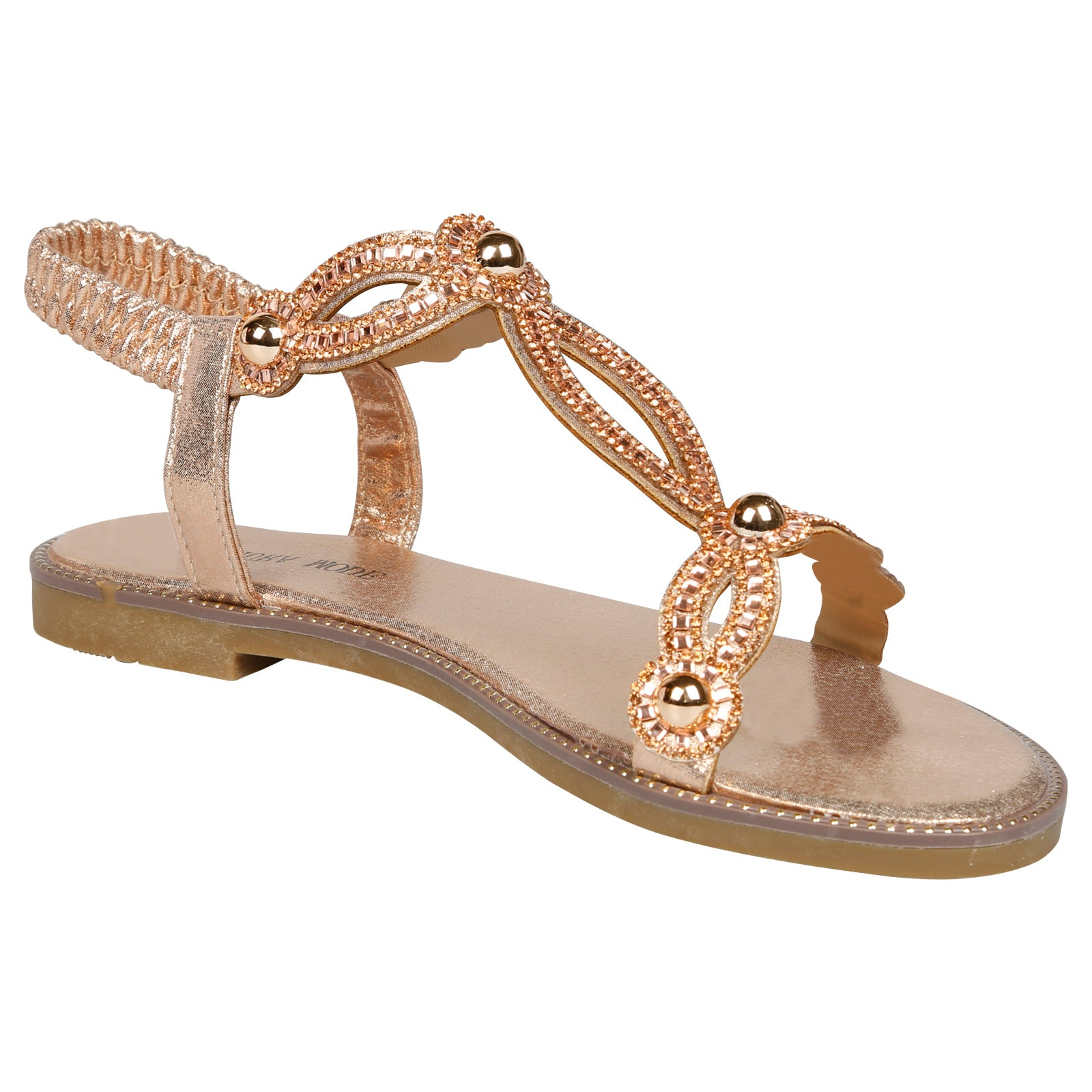 Elle Diamante T-Bar Sandals in Rose Gold - Feet First Fashion