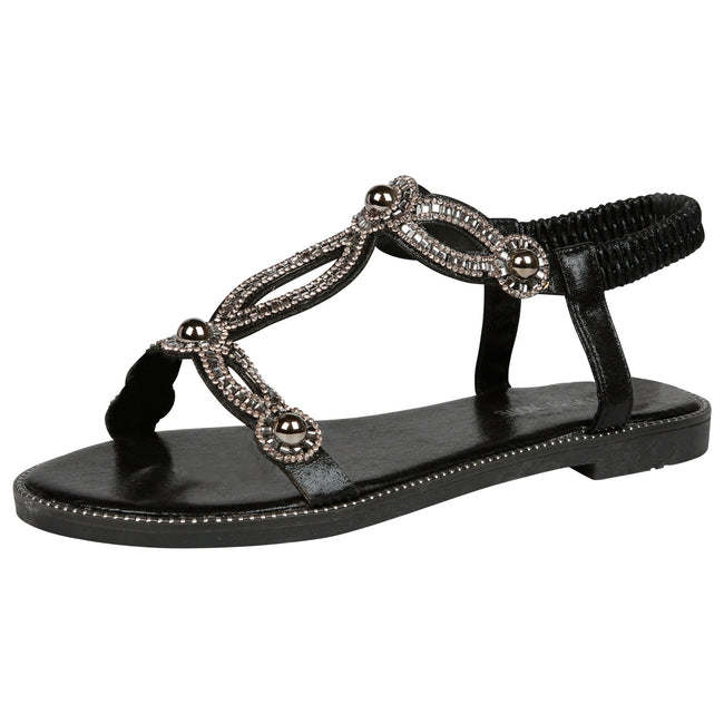 Elle Diamante T-Bar Sandals in Black - Feet First Fashion