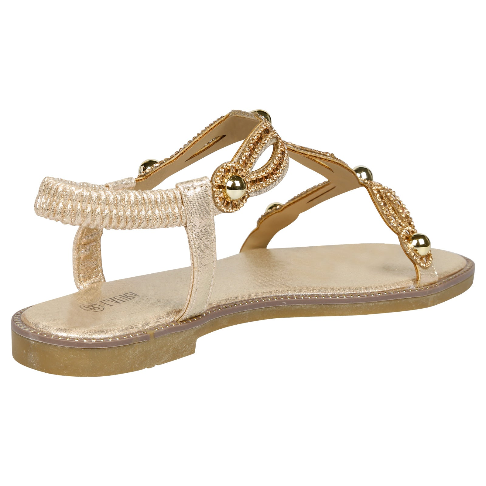 Elle Diamante T-Bar Sandals in Gold - Feet First Fashion