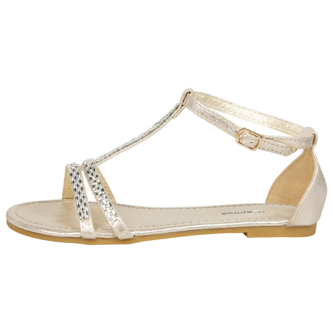 Camila Diamante T-Bar Sandals in Gold - Feet First Fashion