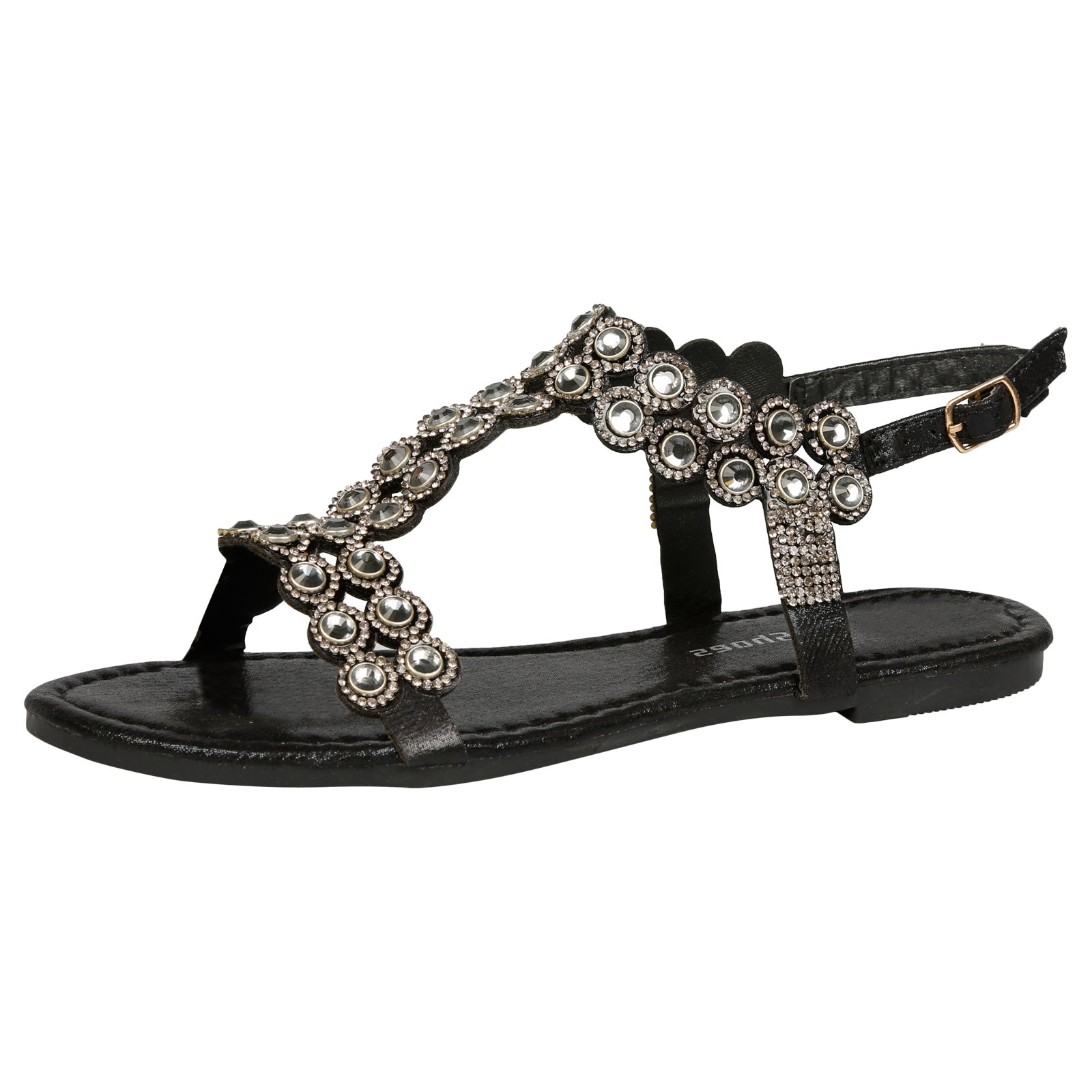 Abigail Diamante T-Bar Sandals in Black - Feet First Fashion