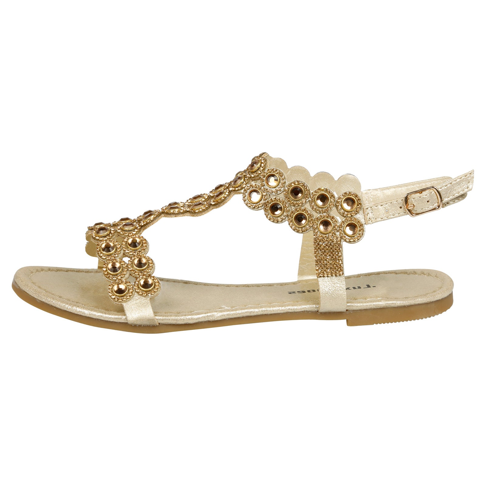 Abigail Diamante T-Bar Sandals in Gold - Feet First Fashion