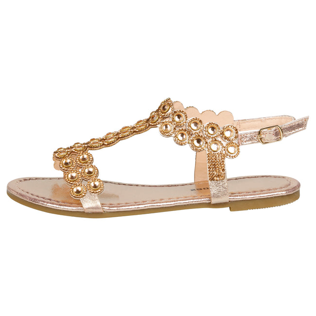 Abigail Diamante T-Bar Sandals in Rose Gold - Feet First Fashion