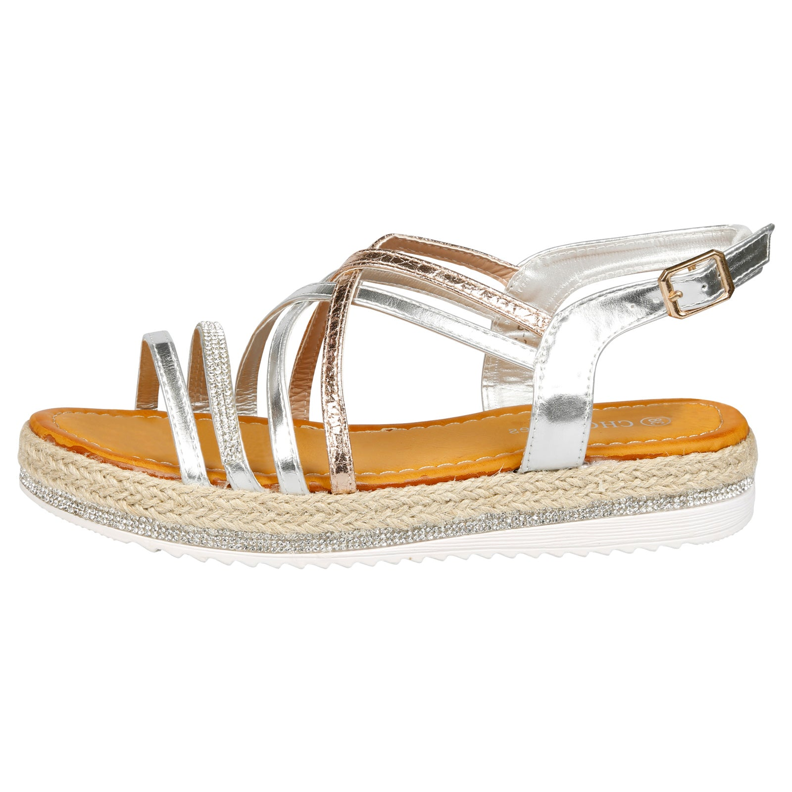 Ilana Two Tone Strappy Espadrille Sandals in Silver & Rose Gold - Feet First Fashion