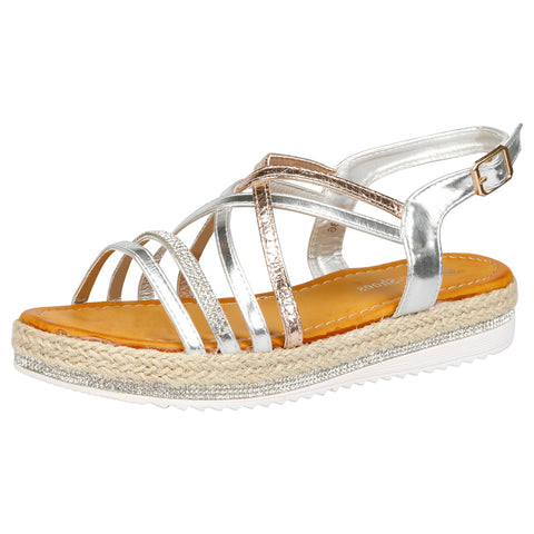 Andrea Studded Ankle Strap Espadrilles in Pink Faux Leather