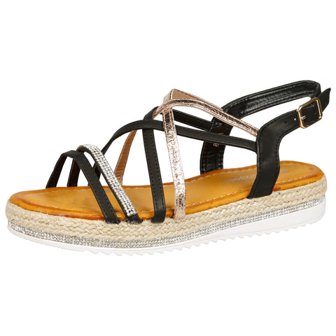 Gaia Feather T Bar Espadrille Sandals in Black Faux Suede
