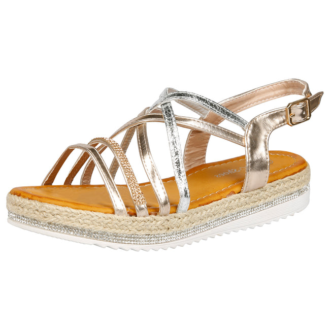 Ilana Two Tone Strappy Espadrille Sandals in Rose Gold & Silver - Feet First Fashion