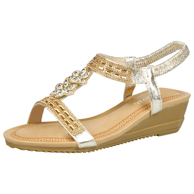 Aria Diamante Wedge Sandals in Gold - Feet First Fashion