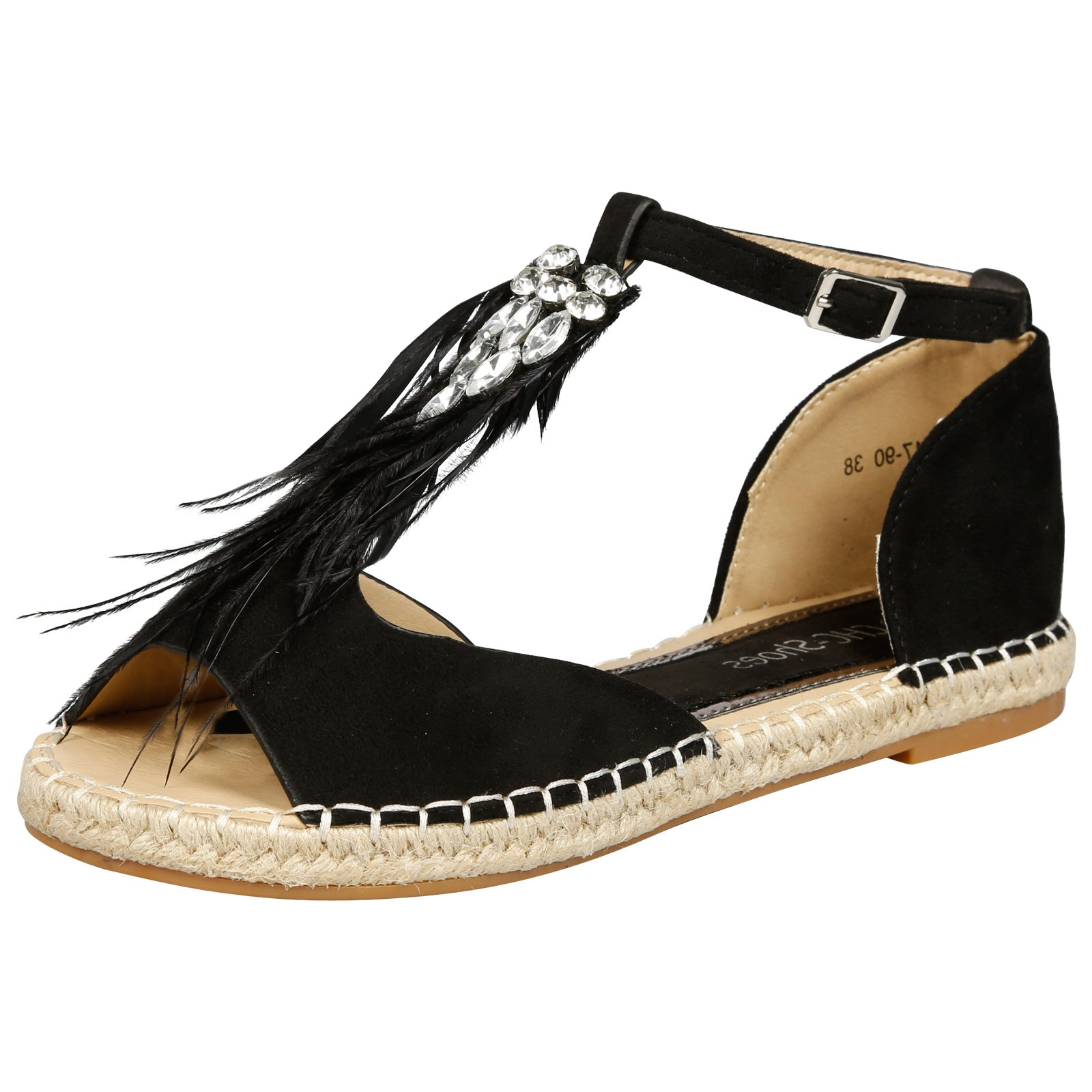 Gaia Feather T Bar Espadrille Sandals in Black Faux Suede - Feet First Fashion