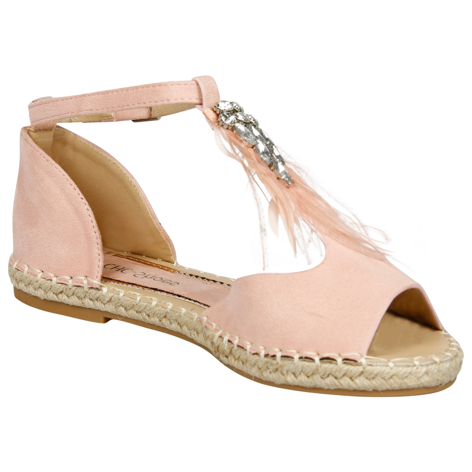 Gaia Feather T Bar Espadrille Sandals in Pink Faux Suede - Feet First Fashion