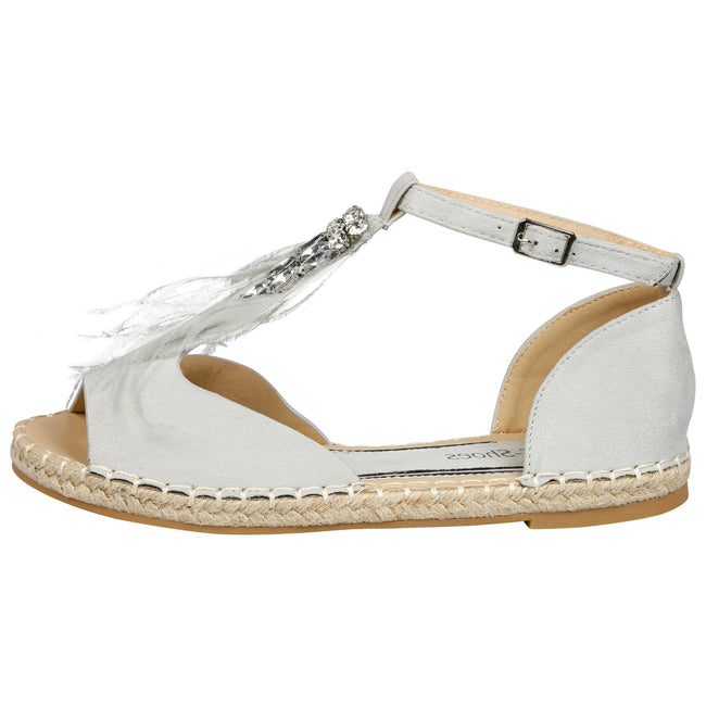 Gaia Feather T Bar Espadrille Sandals in Grey Faux Suede - Feet First Fashion