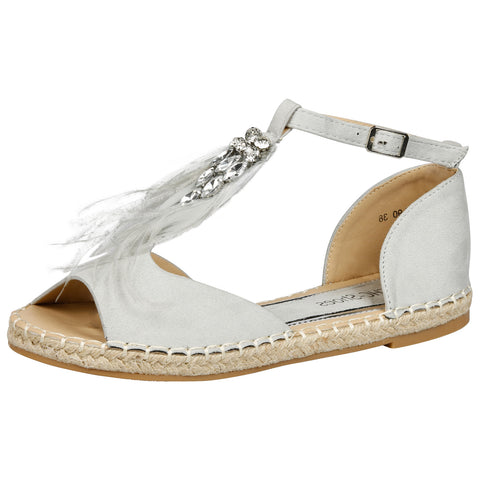 Gaia Feather T Bar Espadrille Sandals in Pink Faux Suede