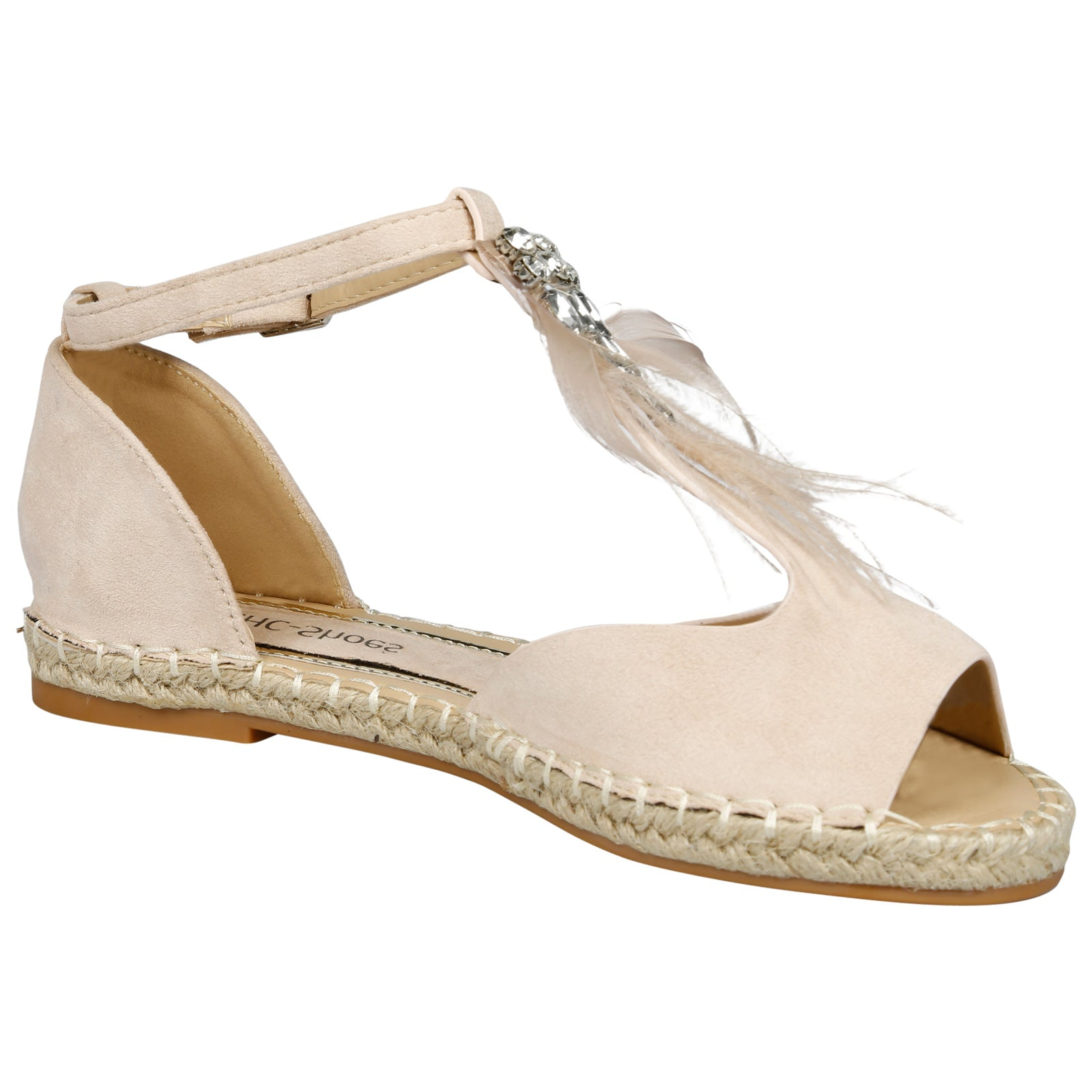 Gaia Feather T Bar Espadrille Sandals in Beige Faux Suede - Feet First Fashion