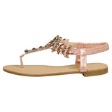 Victoria Jewelled T-Bar Sandals in Pink - Feet First Fashion