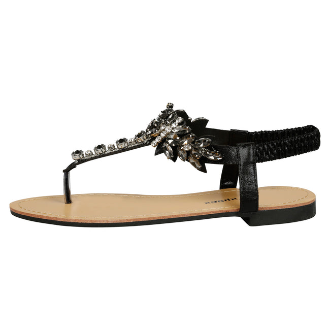 Victoria Jewelled T-Bar Sandals in Black - Feet First Fashion