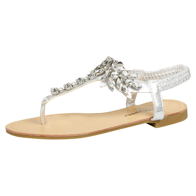 Victoria Jewelled T-Bar Sandals in Silver - Feet First Fashion