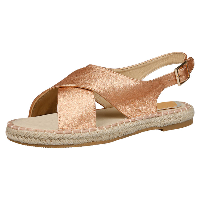 Cheryl Slingback Espadrille Sandals in Rose Gold - Feet First Fashion