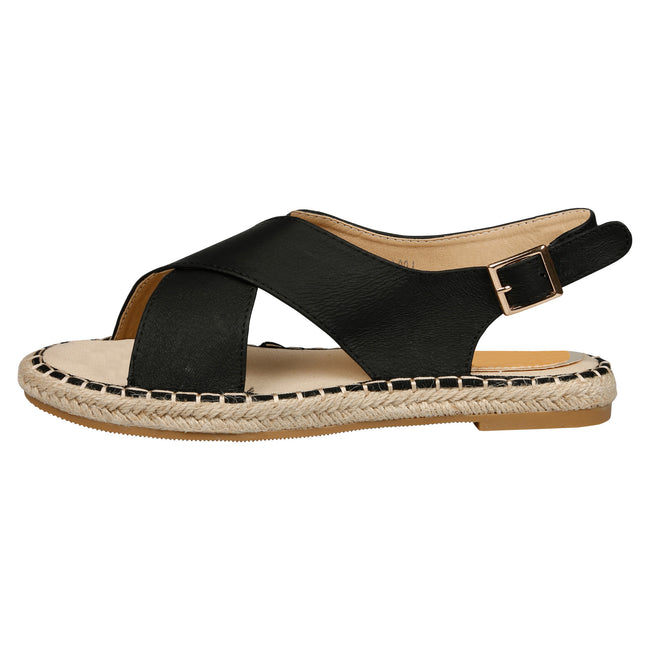 Cheryl Slingback Espadrille Sandals in Black - Feet First Fashion