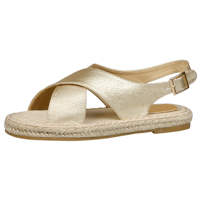 Cheryl Slingback Espadrille Sandals in Gold - Feet First Fashion