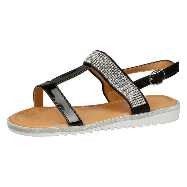 Natalie T-Bar Diamante Sandals in Black Patent - Feet First Fashion