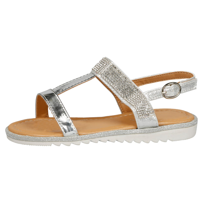 Natalie T-Bar Diamante Sandals in Silver Patent - Feet First Fashion