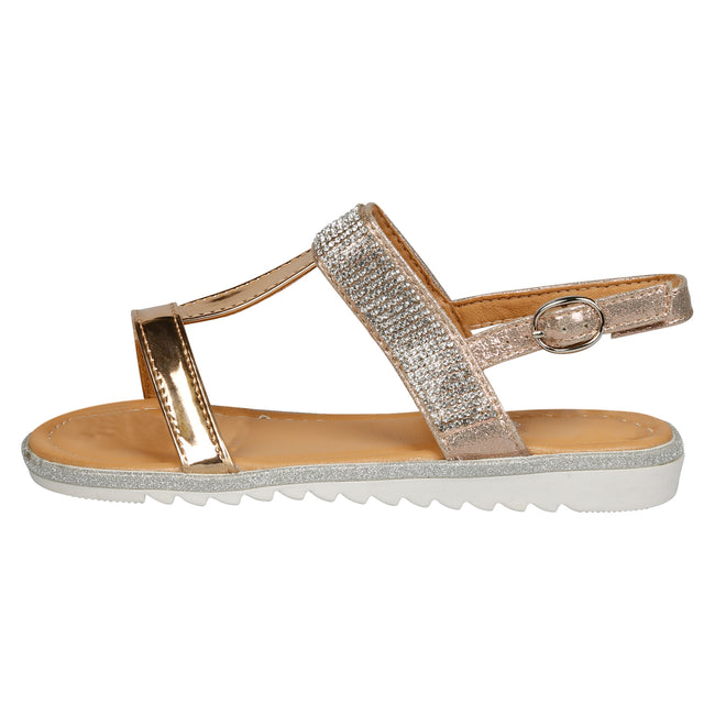 Natalie T-Bar Diamante Sandals in Rose Gold Patent - Feet First Fashion