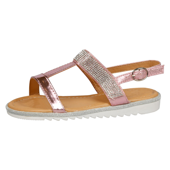 Natalie T-Bar Diamante Sandals in Pink Patent - Feet First Fashion