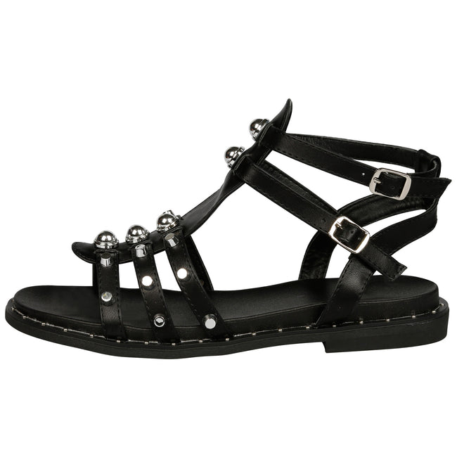 Torey Studded Gladiator Sandals in Black Faux Leather - Feet First Fashion