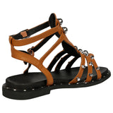 Torey Studded Gladiator Sandals in Camel Faux Leather - Feet First Fashion