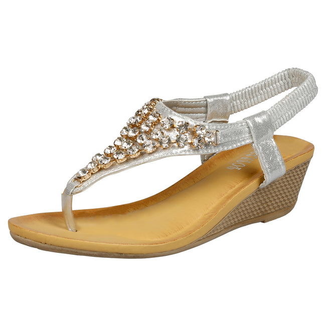 Ceres Low Wedge Gemmed Sandals in Silver - Feet First Fashion