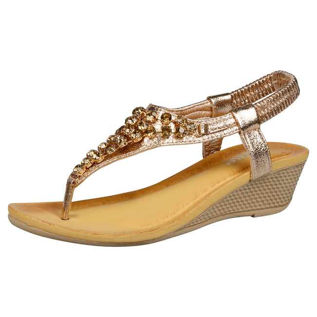 Ceres Low Wedge Gemmed Sandals in Champagne - Feet First Fashion