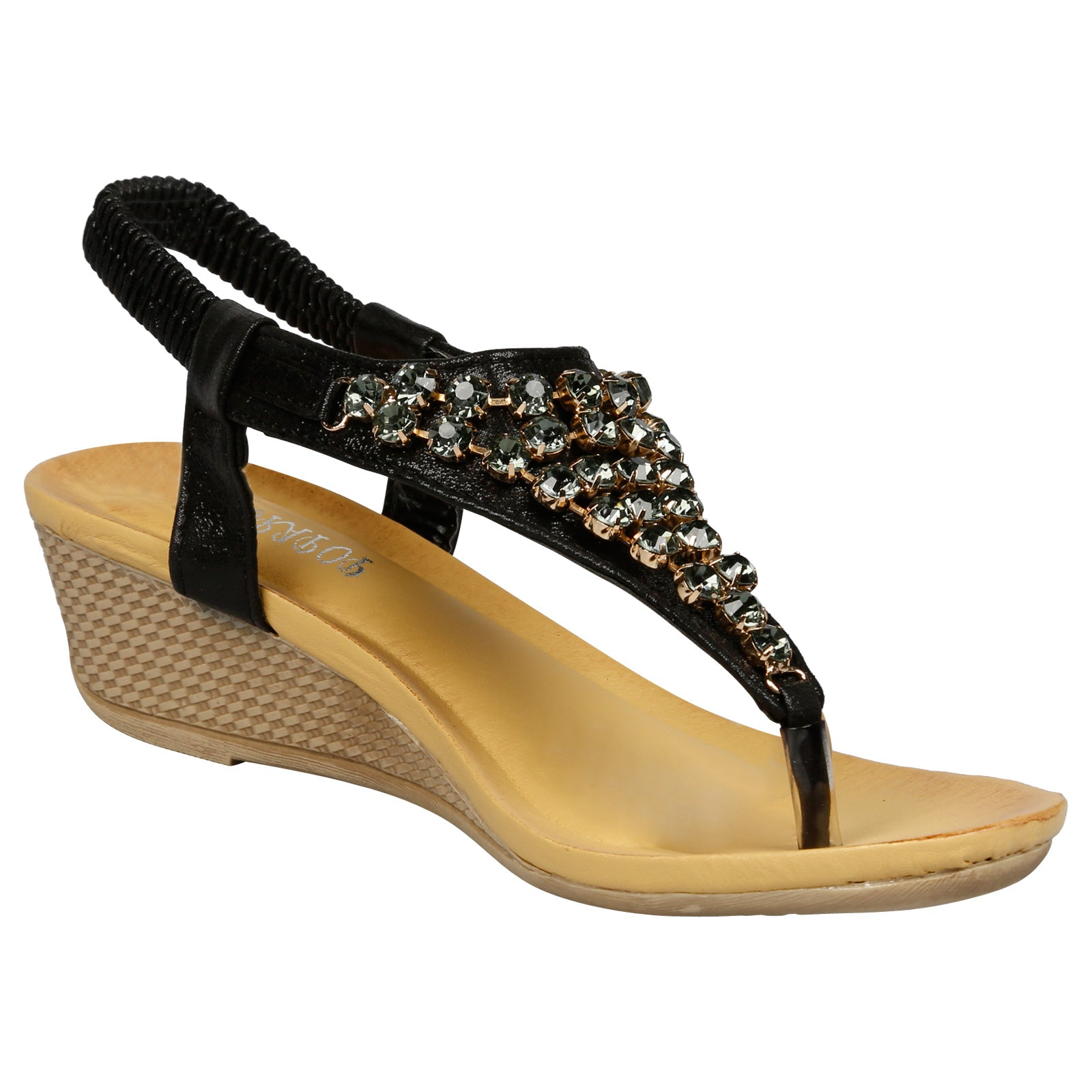 Ceres Low Wedge Gemmed Sandals in Black - Feet First Fashion