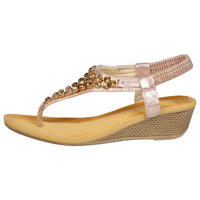 Ceres Low Wedge Gemmed Sandals in Pink - Feet First Fashion