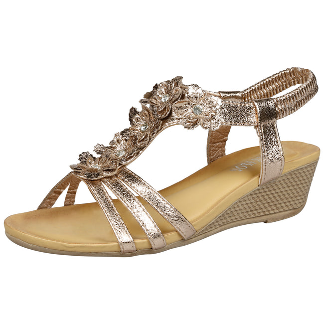 Leilani Low Wedge Floral Sandals in Champagne - Feet First Fashion