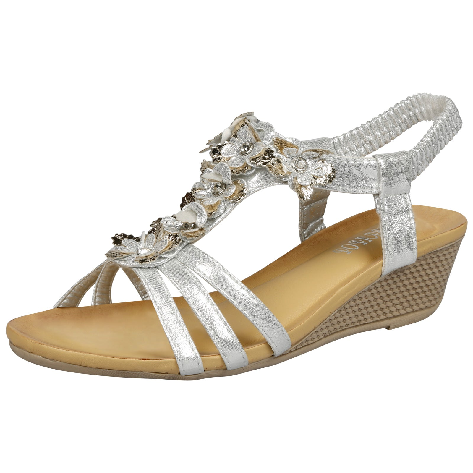 Leilani Low Wedge Floral Sandals in Silver - Feet First Fashion