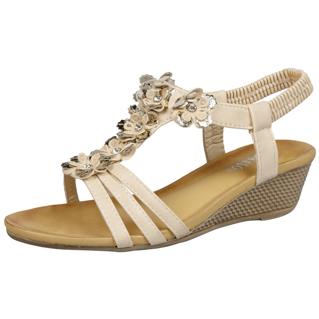 Leilani Low Wedge Floral Sandals in Beige Faux Leather - Feet First Fashion