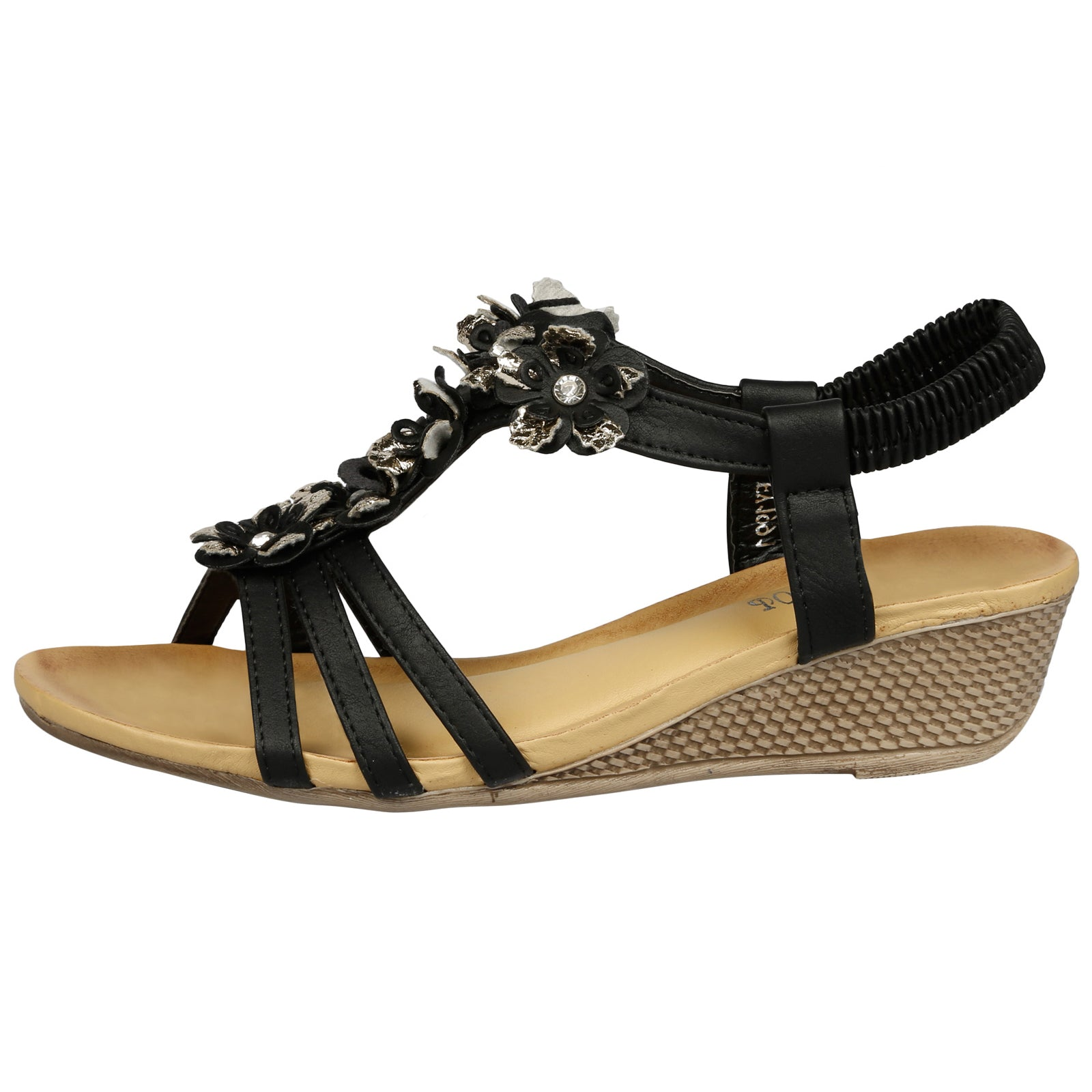Leilani Low Wedge Floral Sandals in Black Faux Leather - Feet First Fashion