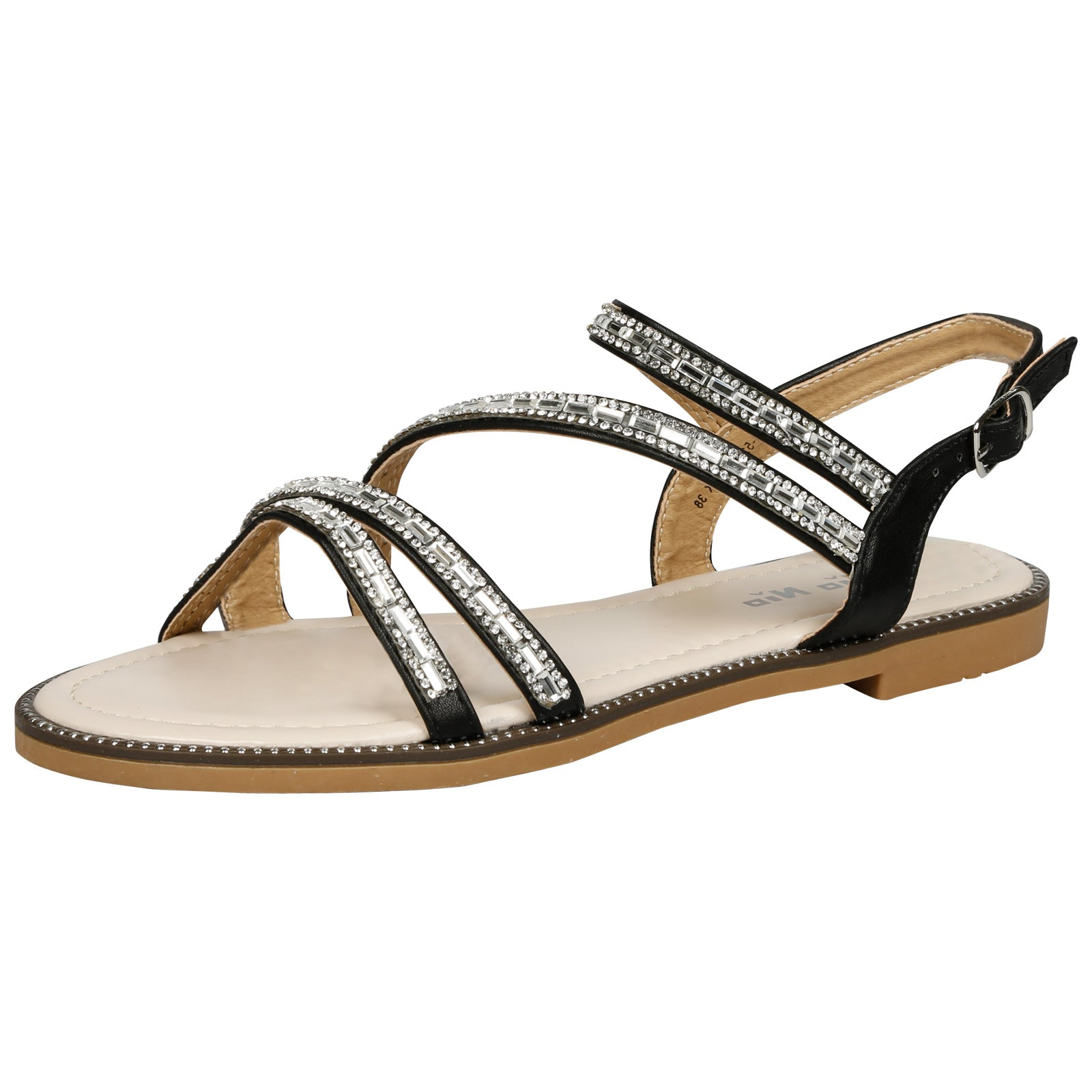 Lainey Flat Diamante Embellished Sandals in Black Faux Leather - Feet First Fashion