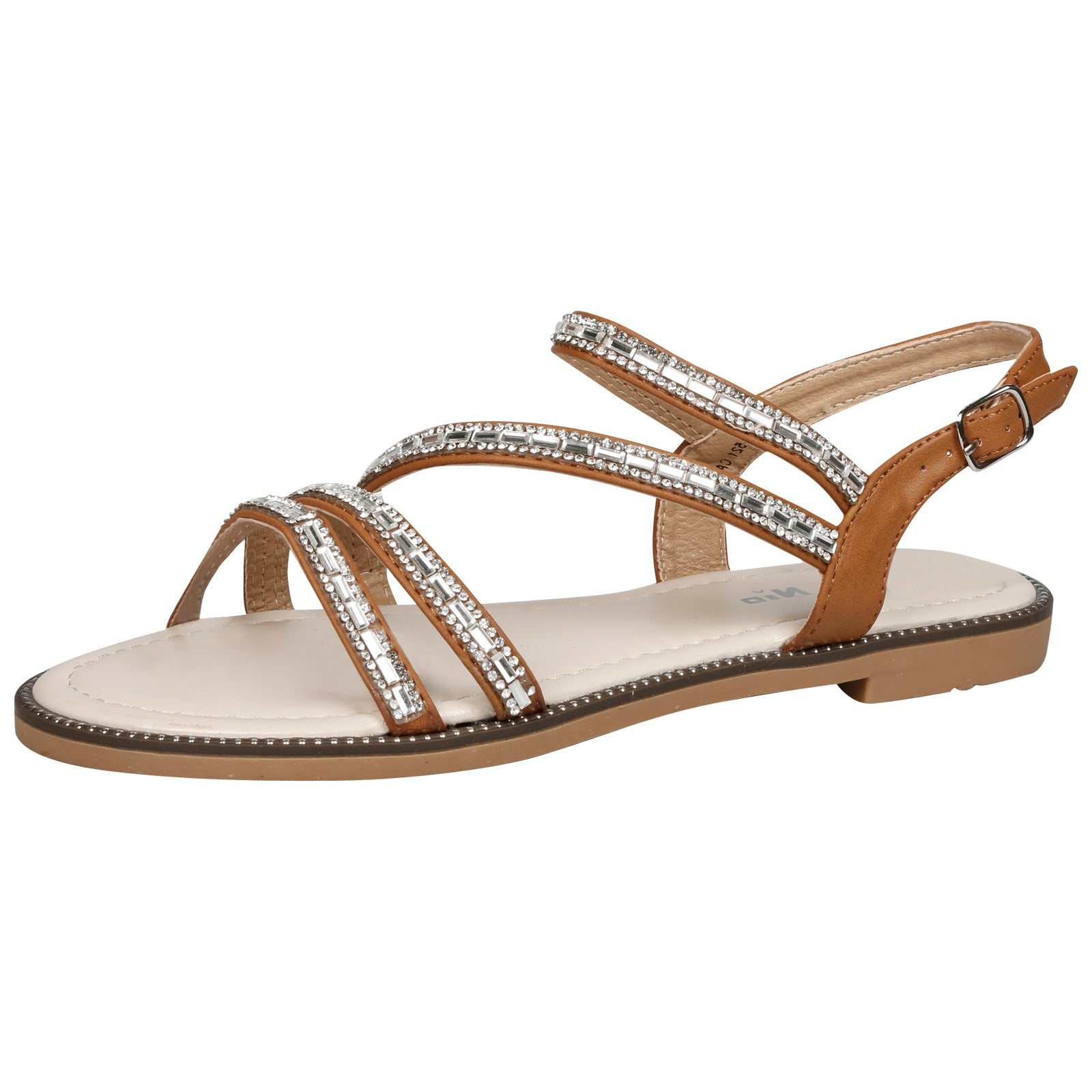 Lainey Flat Diamante Embellished Sandals in Camel Faux Leather - Feet First Fashion