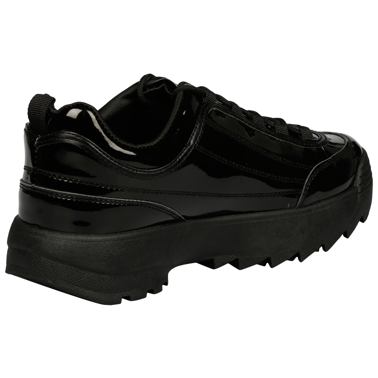 Emmie Chunky Lace Up Trainers in Black Patent - Feet First Fashion