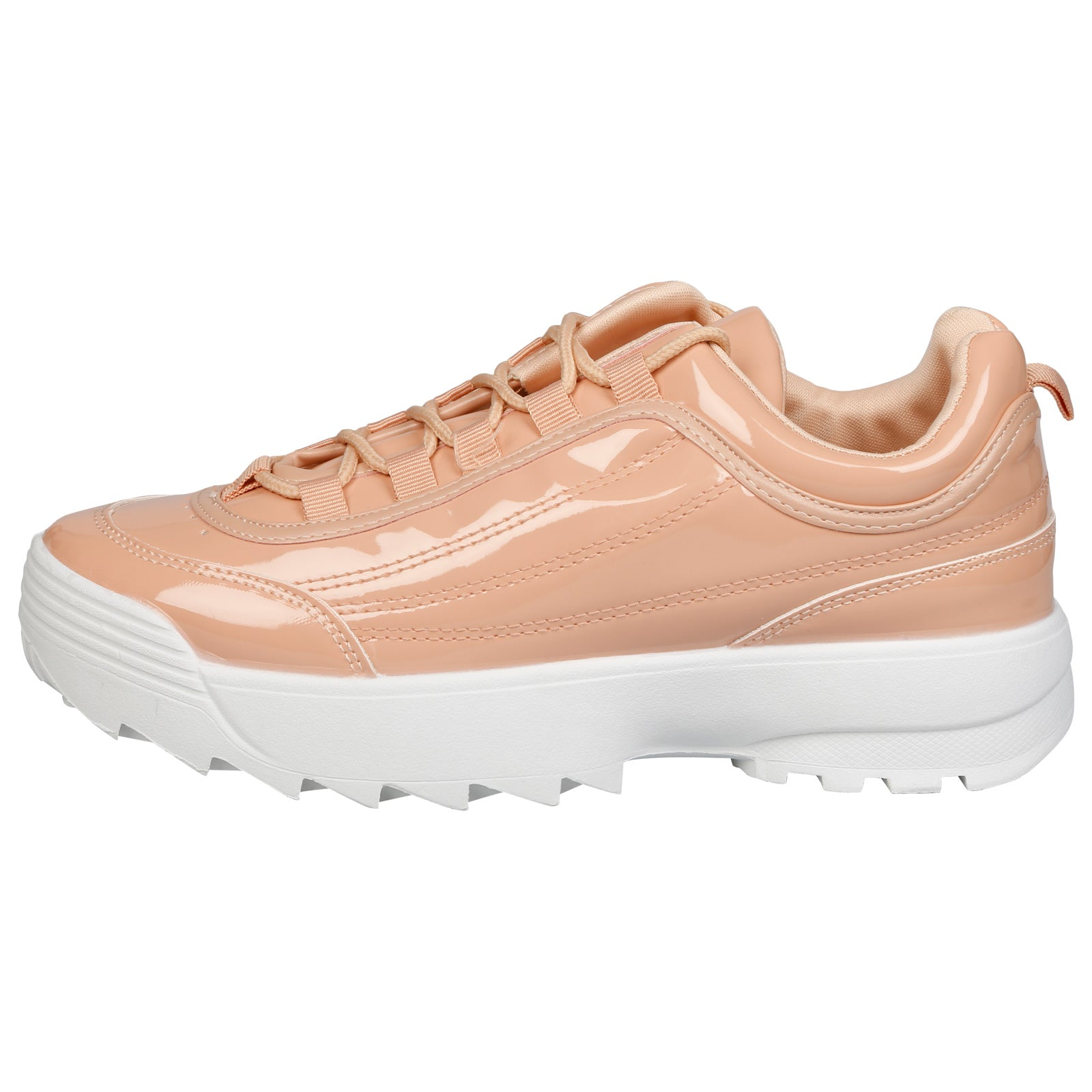 Emmie Chunky Lace Up Trainers in Pink Patent - Feet First Fashion