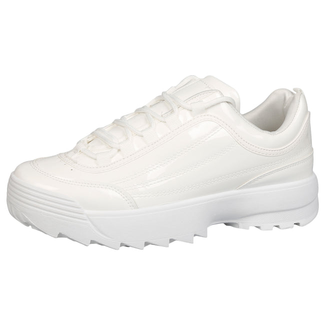 Emmie Chunky Lace Up Trainers in White Patent - Feet First Fashion