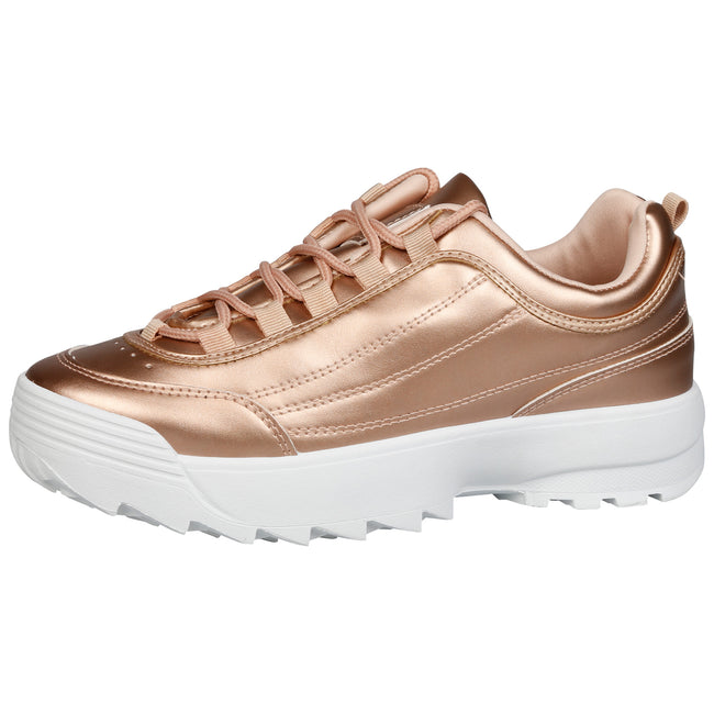 Emmie Chunky Lace Up Trainers in Champagne Faux Leather - Feet First Fashion