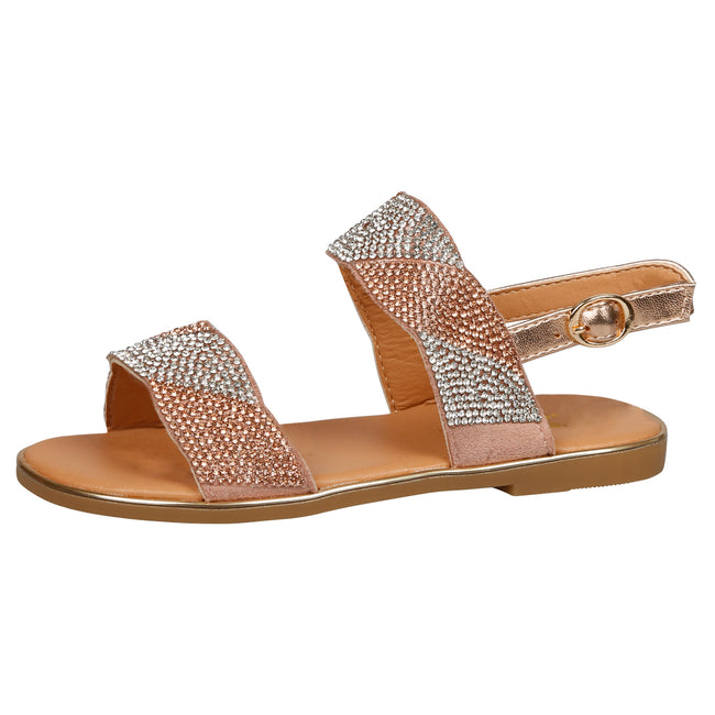 Lily Girls Two Tone Diamante Sandals in Rose Gold - Feet First Fashion