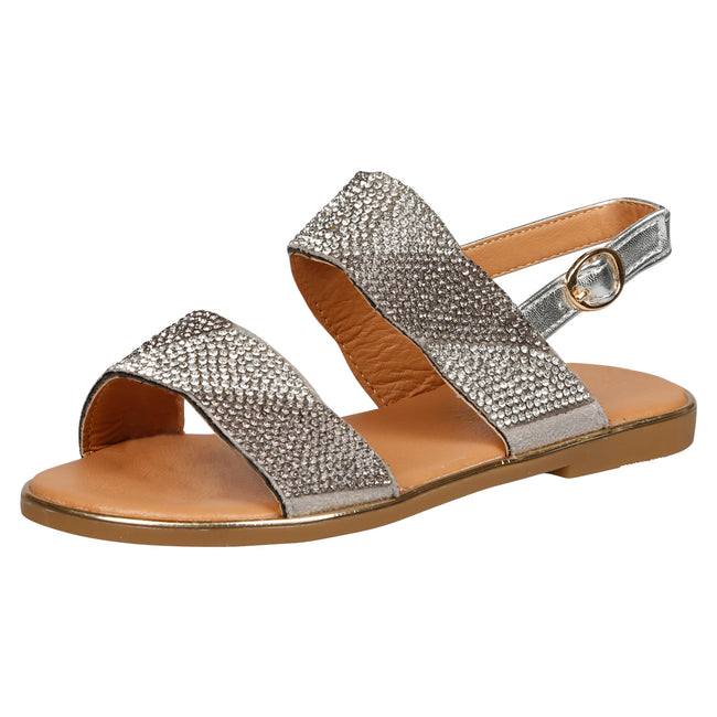Lily Girls Two Tone Diamante Sandals in Silver - Feet First Fashion