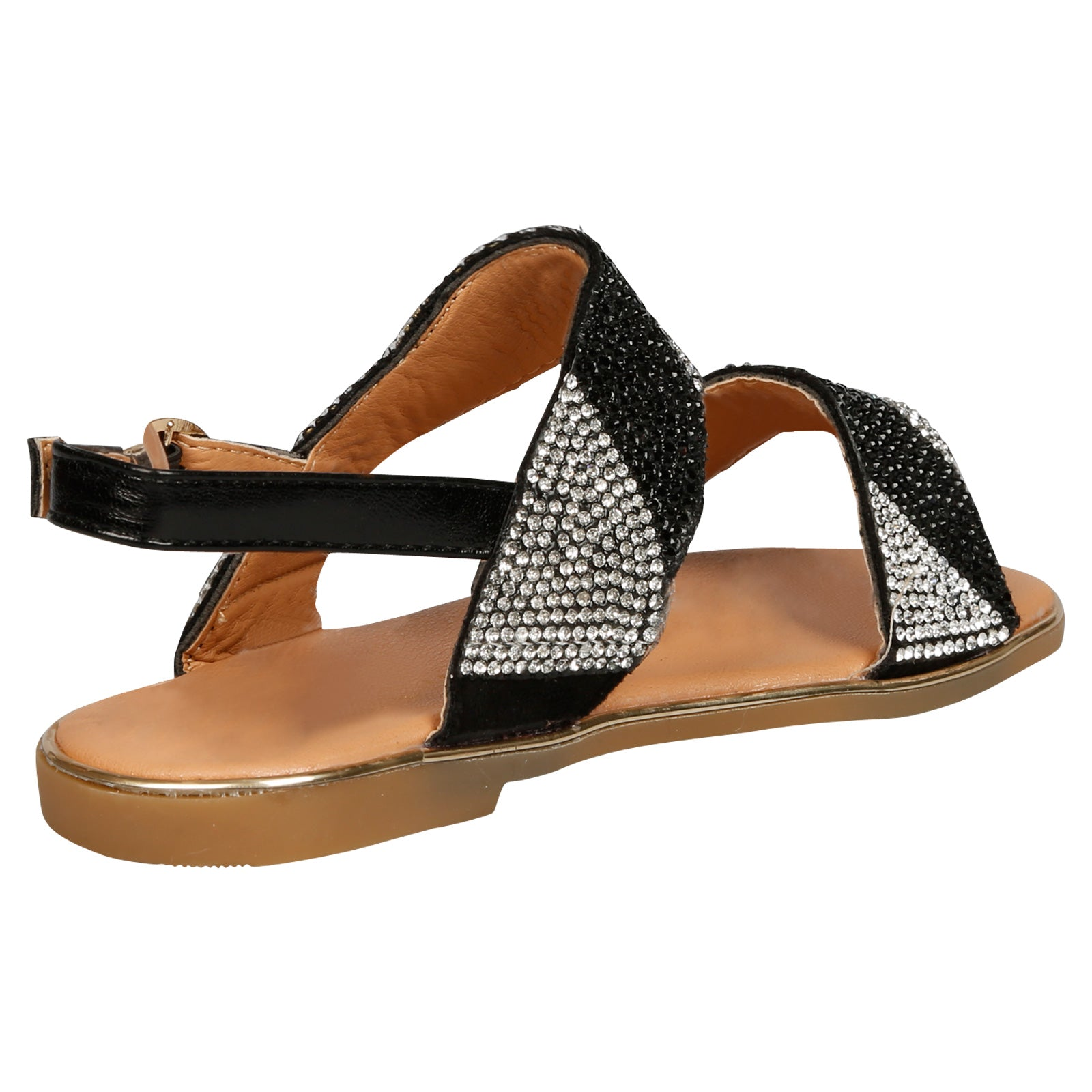 Lily Girls Two Tone Diamante Sandals in Black - Feet First Fashion